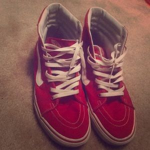 Red white high top vans